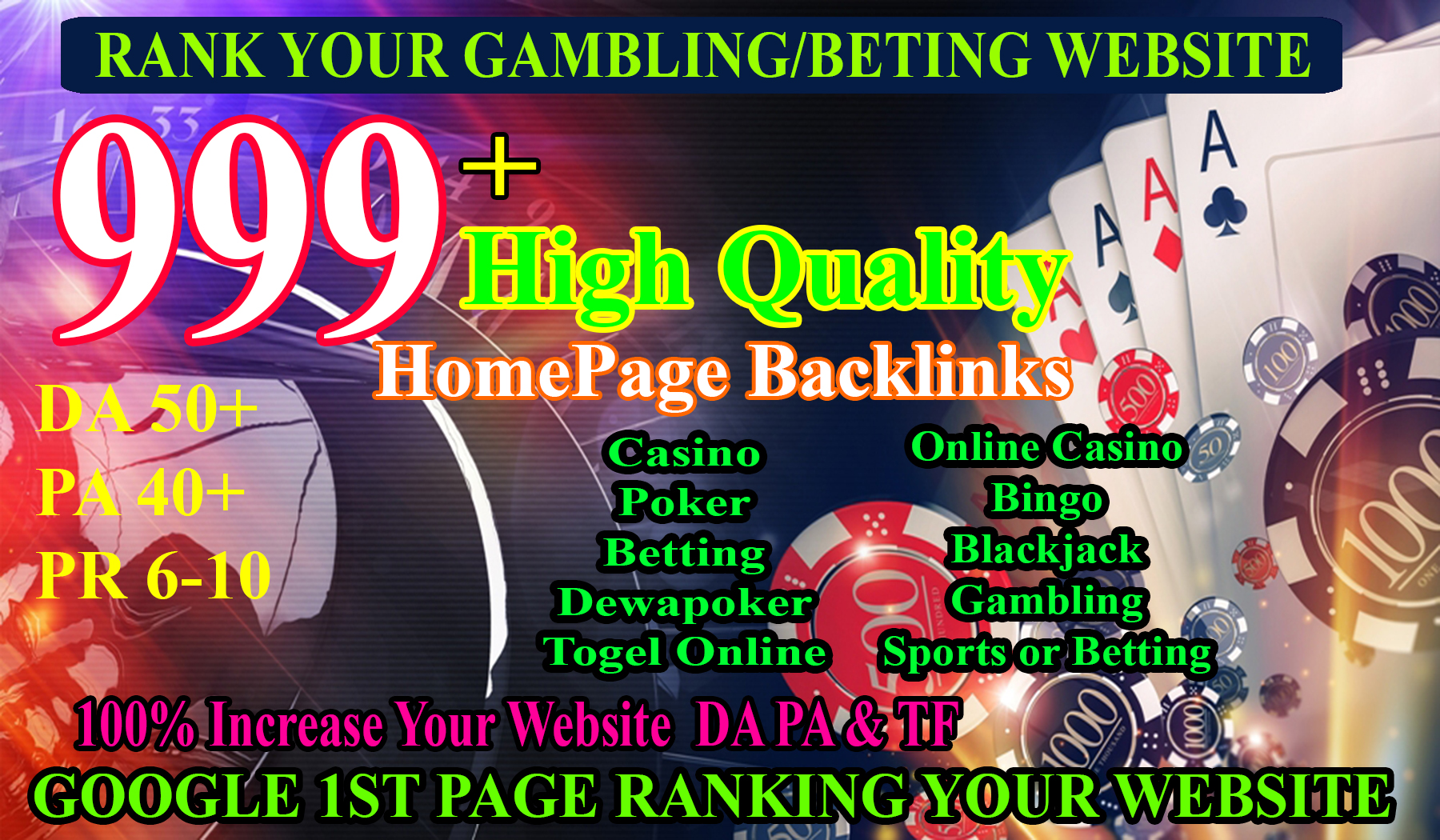Hot Offer 999+ Powerful Casino,  Gambling,  Poker,  Sports High Quality Homepage Backlinks DA70+ PA50+