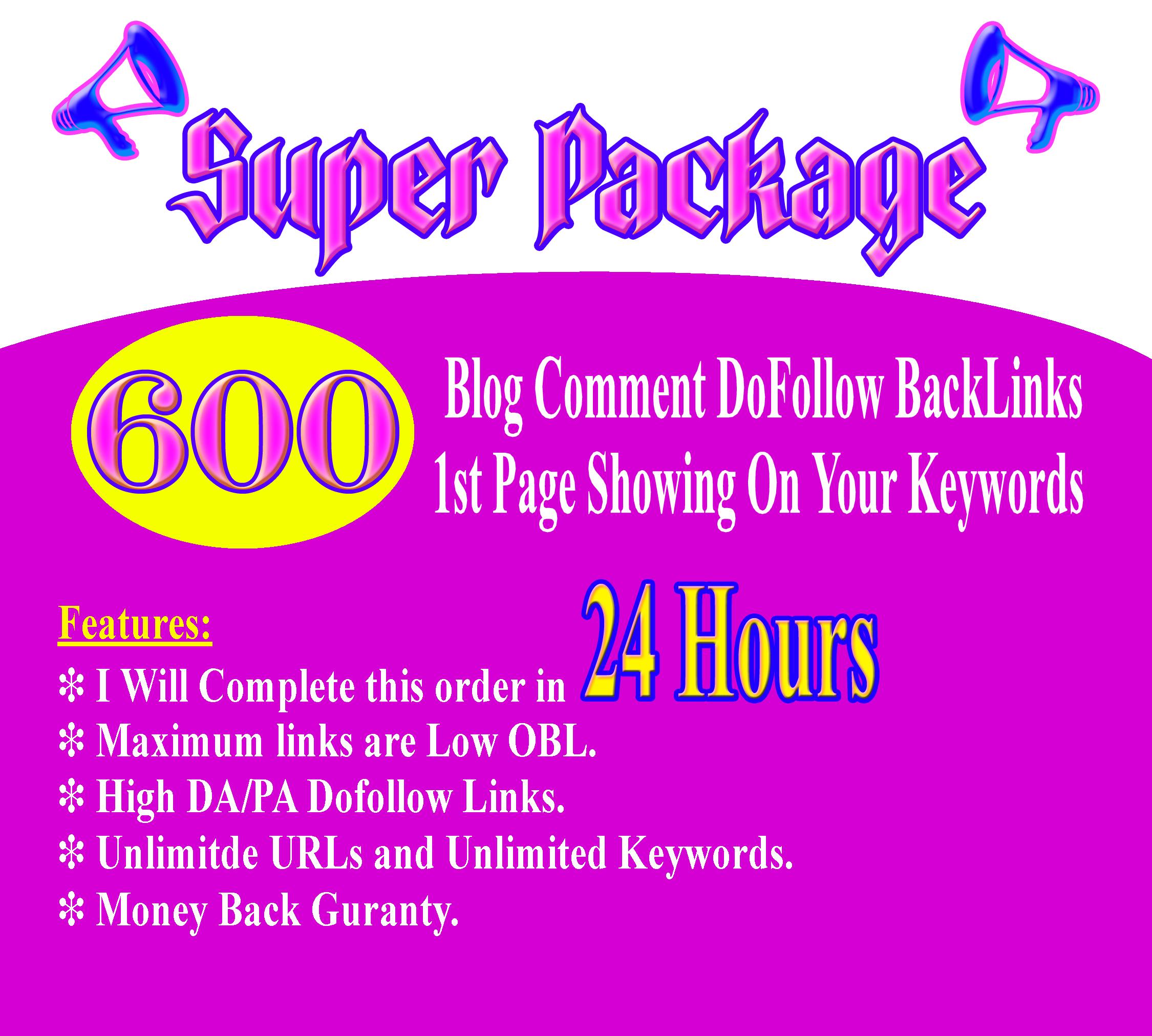 Super package for Limited time offer 600 Blog comment Dofollow backlinks