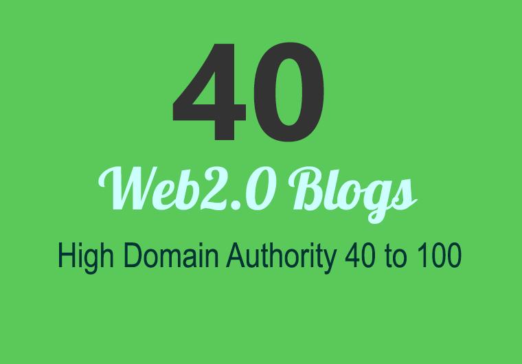 Unique 50 Sites DA 40+ PA 35+ PR 6+ Web 2.0 50 PBN backlink