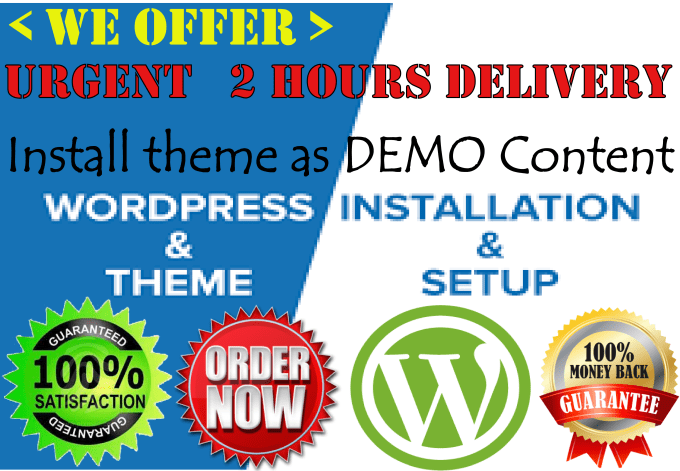 install wordpress theme as demo with in 2 hours