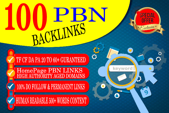 Build 100 Pbn Backlinks Homepag Post High Da Pa site&rsquo s
