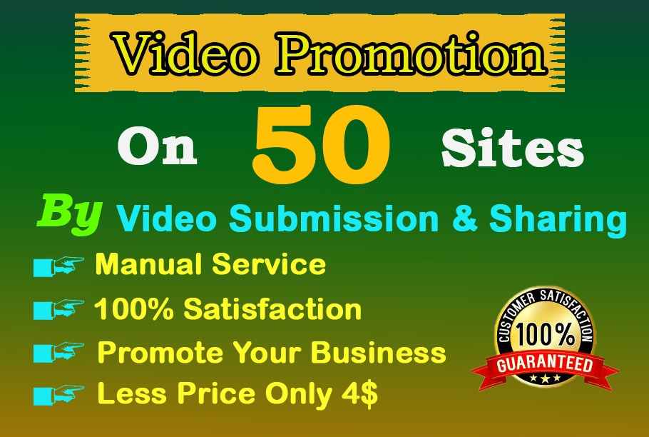 I will do video submission on high DA and PA video sharing sites by manual