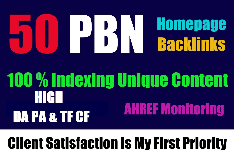 Build 50 Unique PBN dofollow homepage high DA PA parmanent backlinks