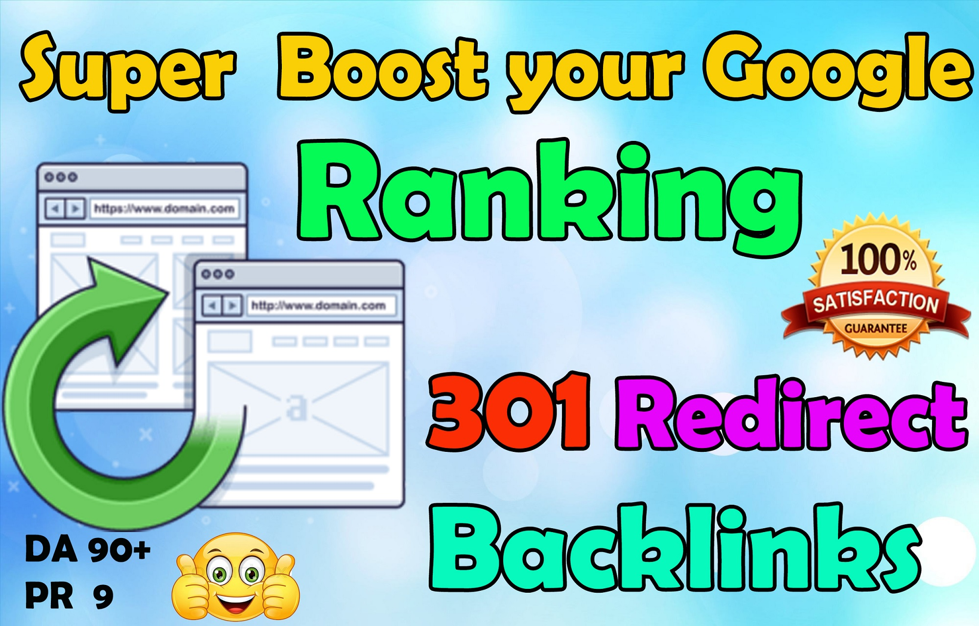 I will gives you unlimited Authority backlinks with 301 Redirect