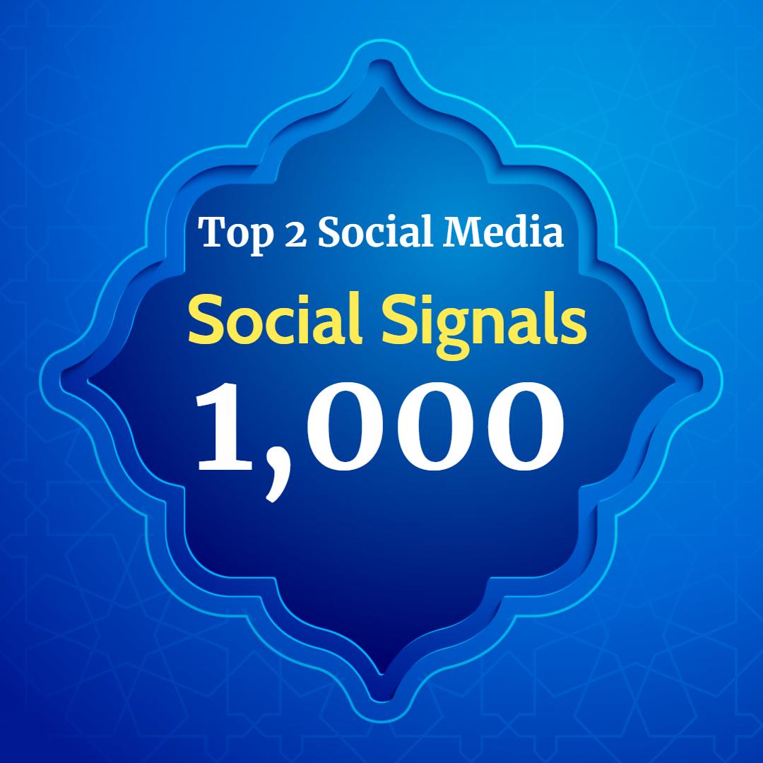 Super power 1,000 Social Signals for Top 2 Social Media Sites