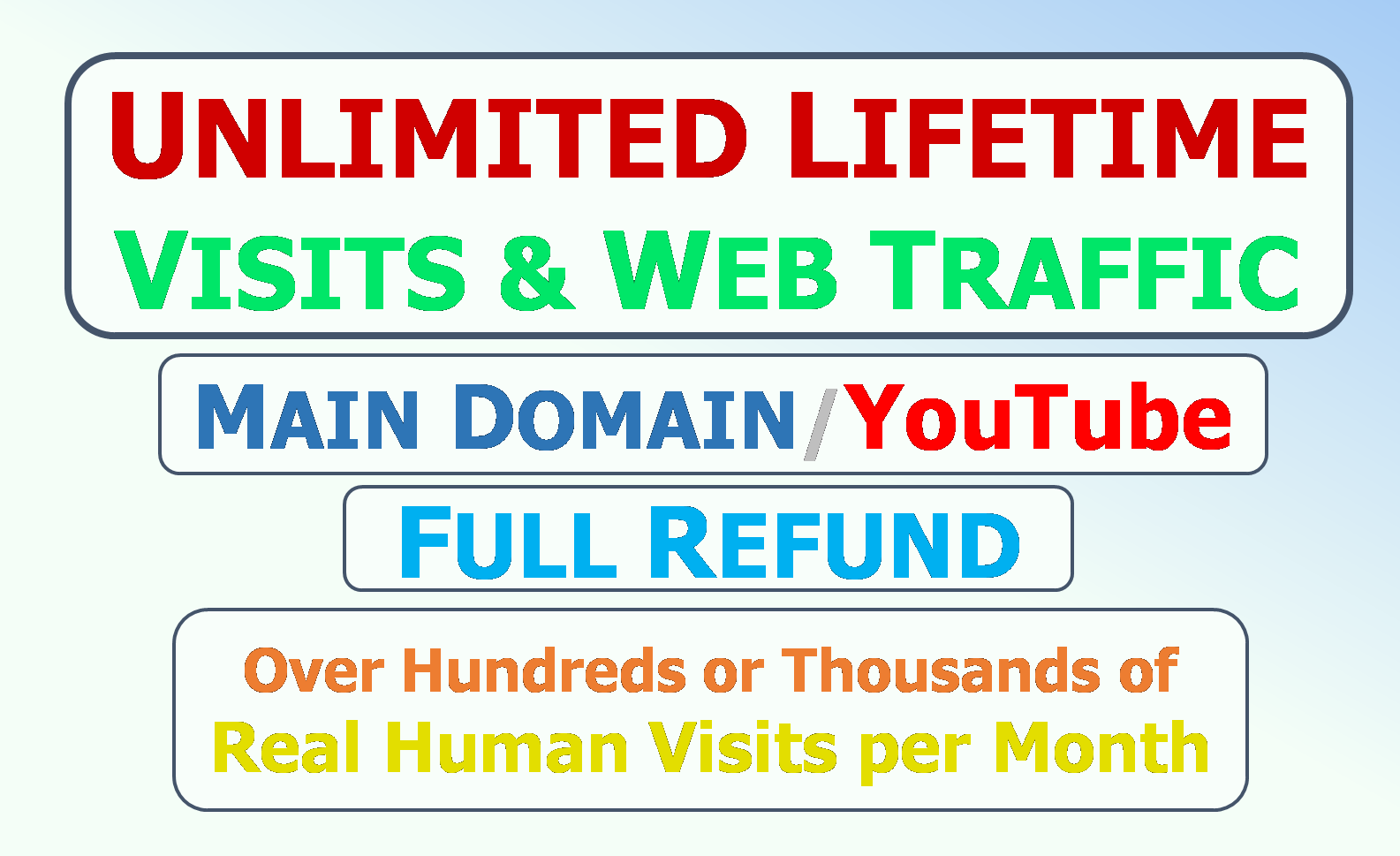 Lifetime unlimited guaranteed gradual visits and web traffic to your main domain