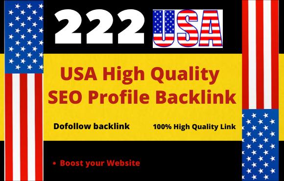 I will create 222 USA HQ dofollow profile backlinks