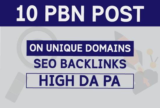 Build 10 High PA DA TF CF PBN Backlinks - Dofollow Quality Links