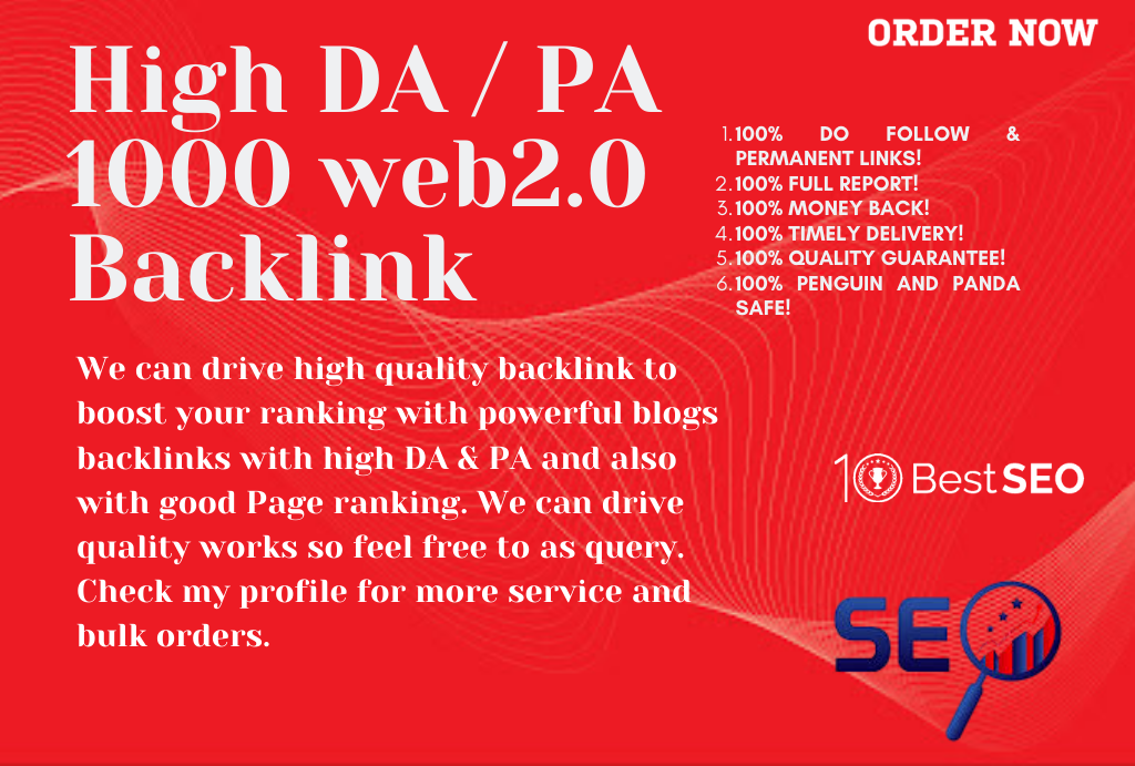 1000 web2.0 Backlinks Manually High Rank Your Website on Google in,  30 Days