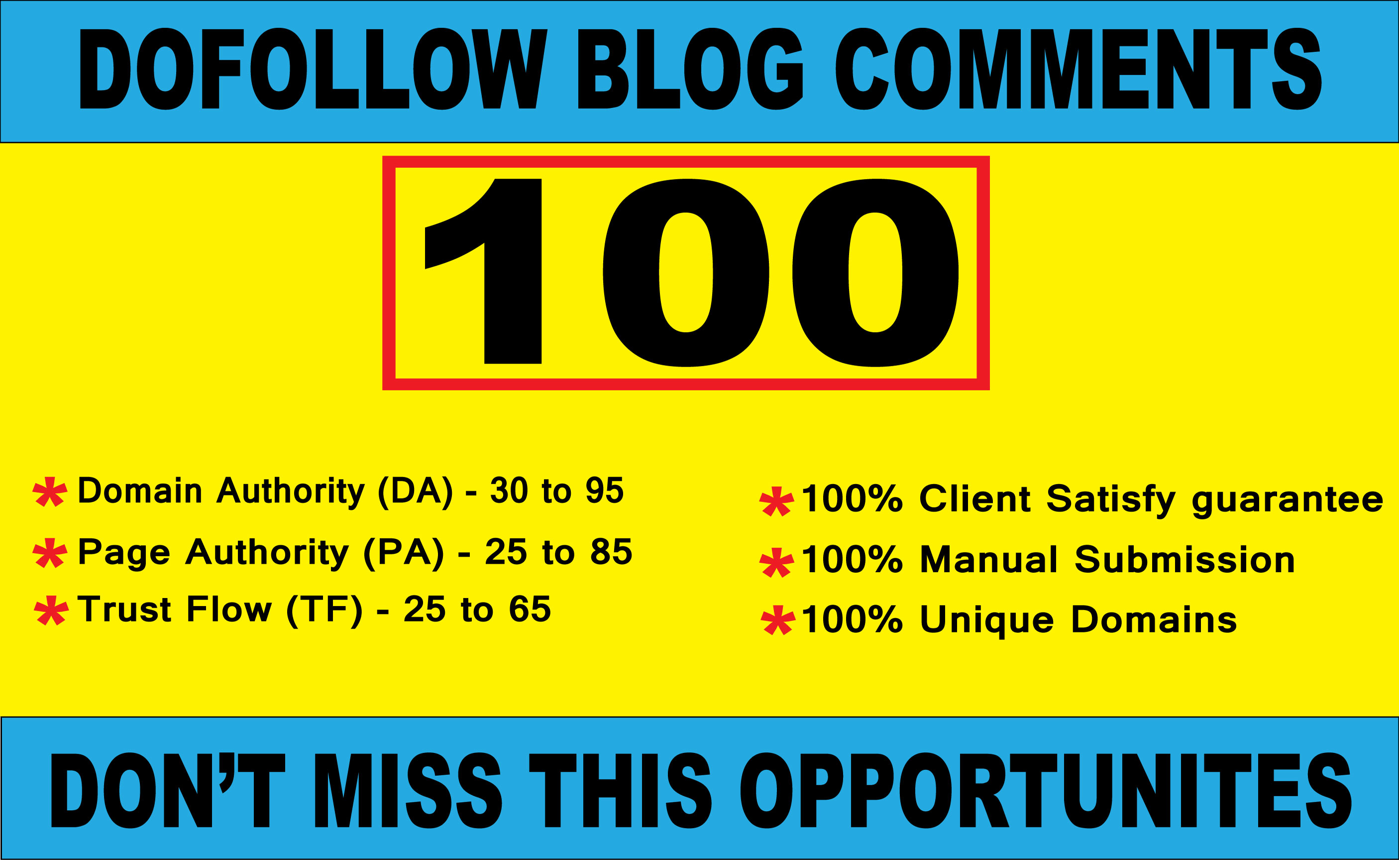 I will create 100 high quality Dofollow blog comments