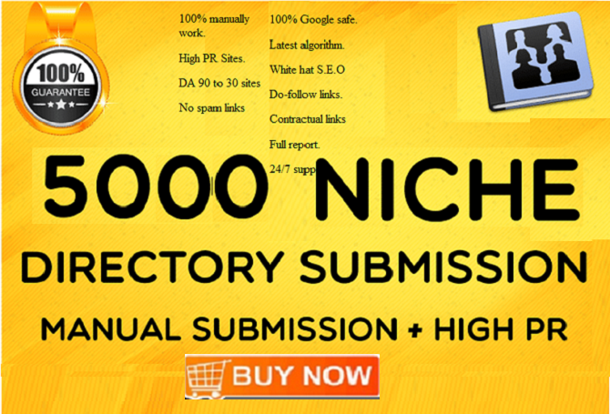 Add 5000 Niche Directory Submissions Backlinks On PR9 To PR3 With High DA PA TF CF