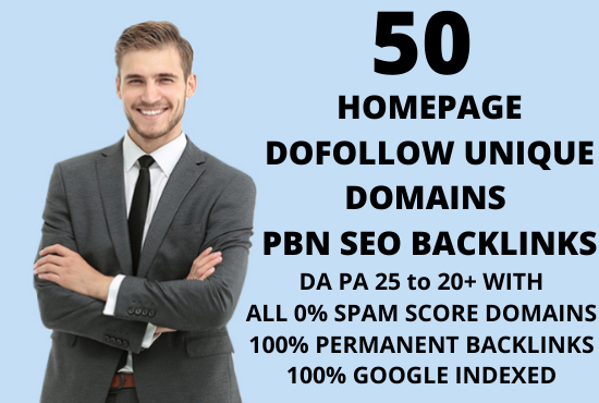 I will create 50 Homepage Dofollow permanent unique domains PBN backlinks on DA 20+ domains