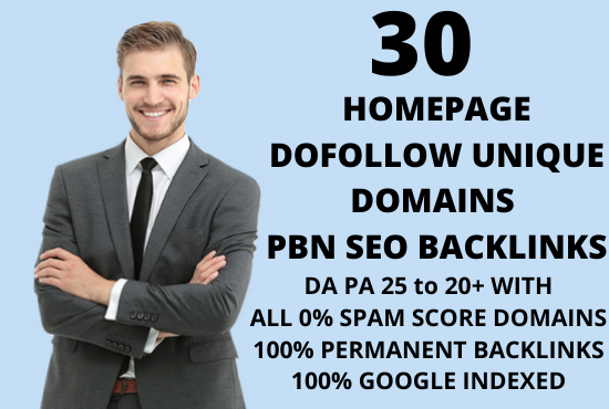 i will create 30 Homepage Dofollow permanent unique domains PBN backlinks on DA 20+ domains