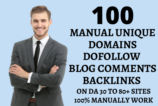 I will create 100 unique domains dofollow blog comments backlinks on DA 30 to 80+ sites