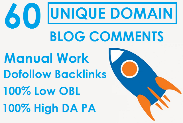 I will Buy 1 Get 1 Free 60 Unique Domain Blog Comments Dofollow Backlinks