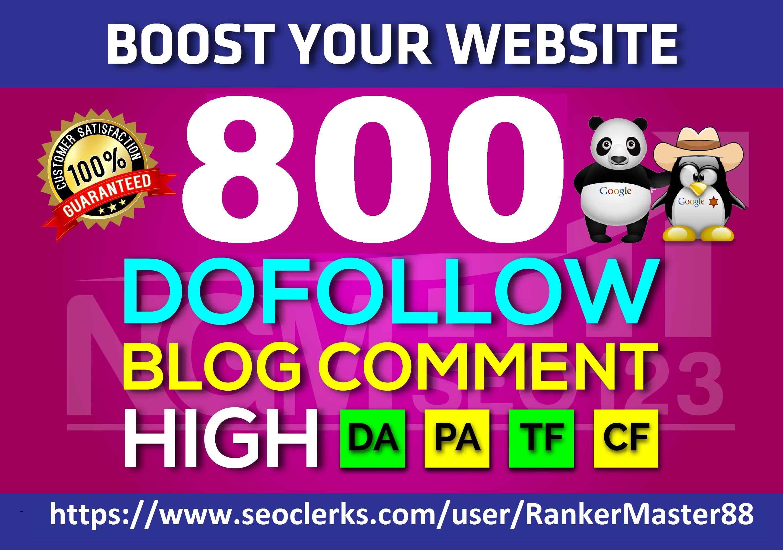 I Will Create 800 Dofollow Blog C0mments Backlinks Manually On High DA PA