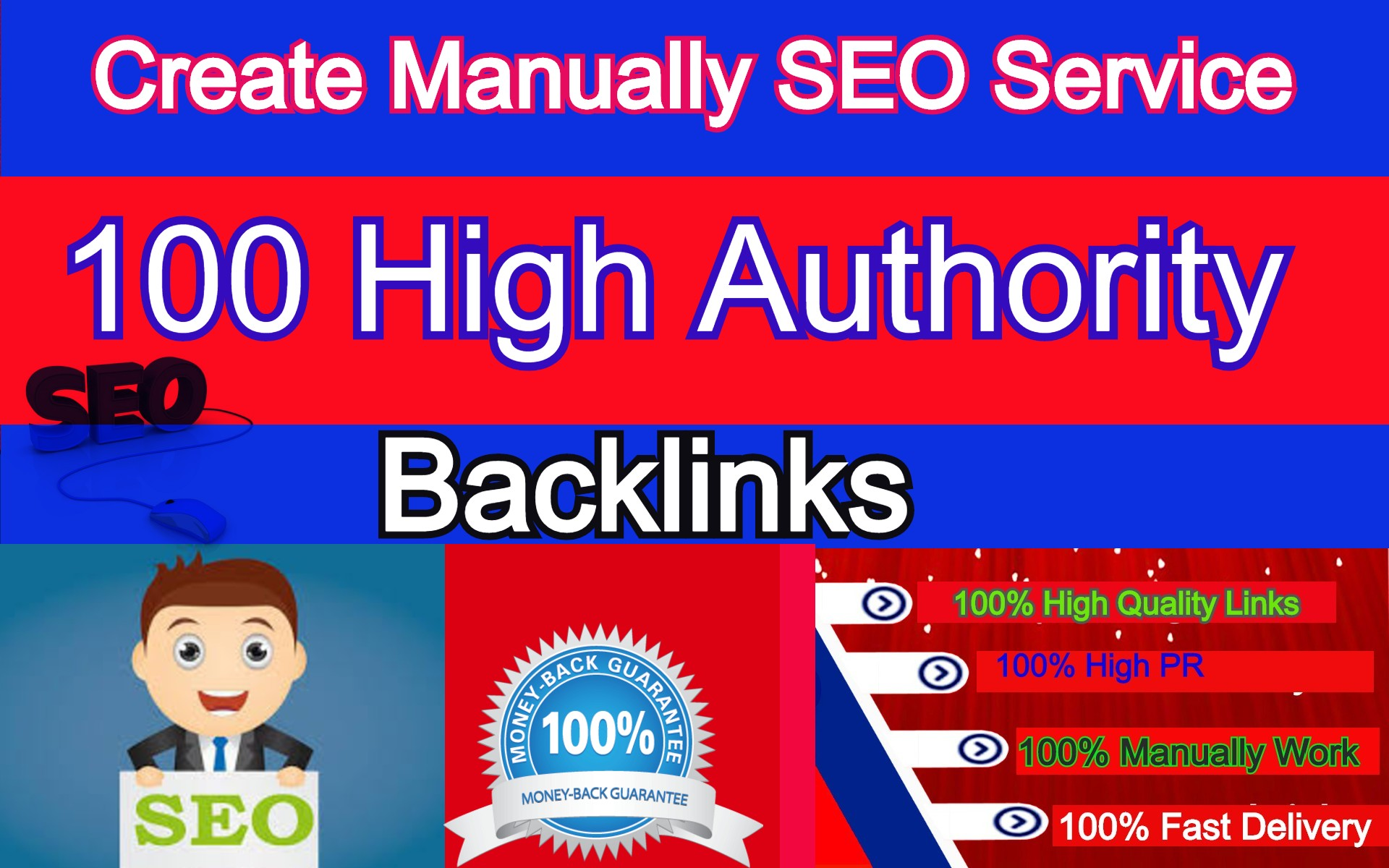 Manual 100 backlinks from domain Authority backlins DA 100 to 60