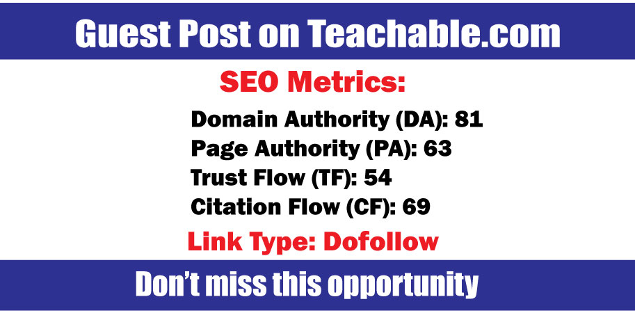 Guest Post on Teachable DR90,  DA81 - DoFoIIow Link