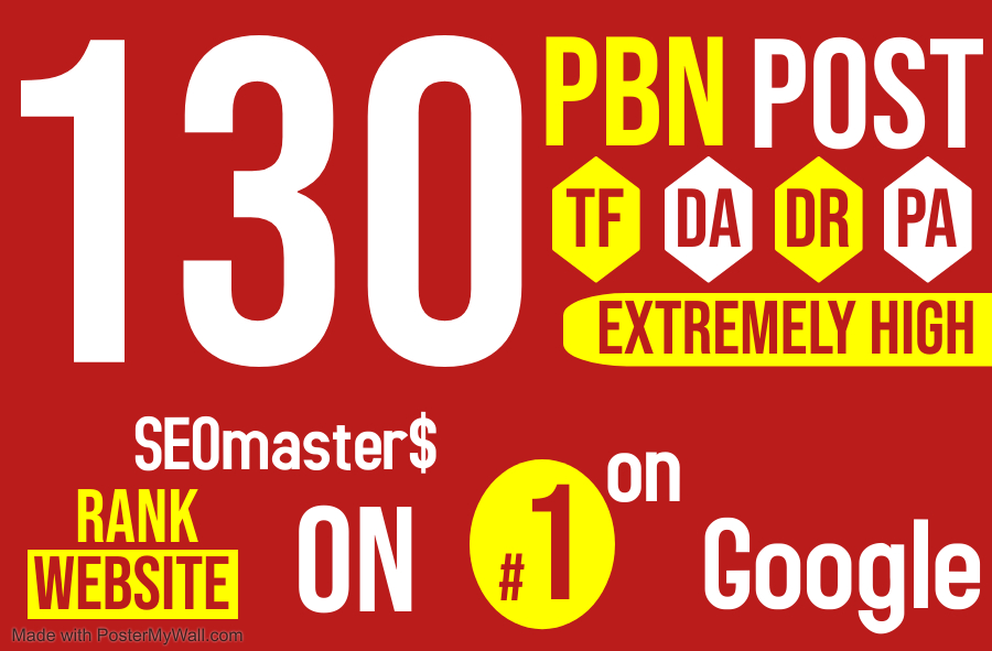 SEO services - Get 130 PBNs Extremely high DR TF DA high quality Homepage Do-follow Backlinks