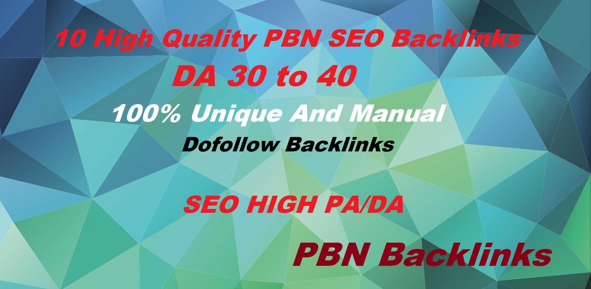 Build 10 High DA 20 To 50+ PBN Homepage High Quality Backlinks