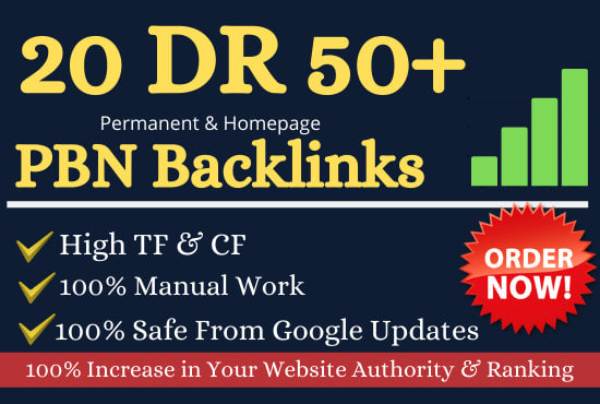 Get 20 DR 50 to 65 homepage permanent PBN Backlinks