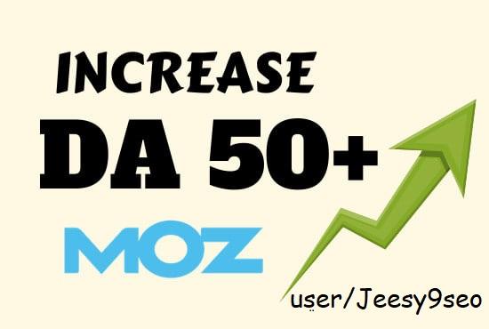 Increase Moz Domain Authority DA 50 Plus 50 edu, 50 wiki, 50 forum,  50 quality do-follow backlinks