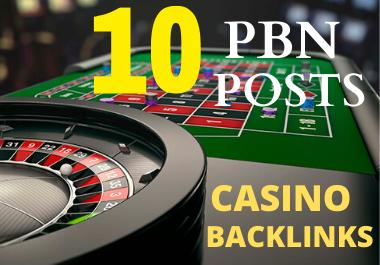 10 High Quality Casino/Gambling/Poker Related Powerful PBN Seo Backlinks