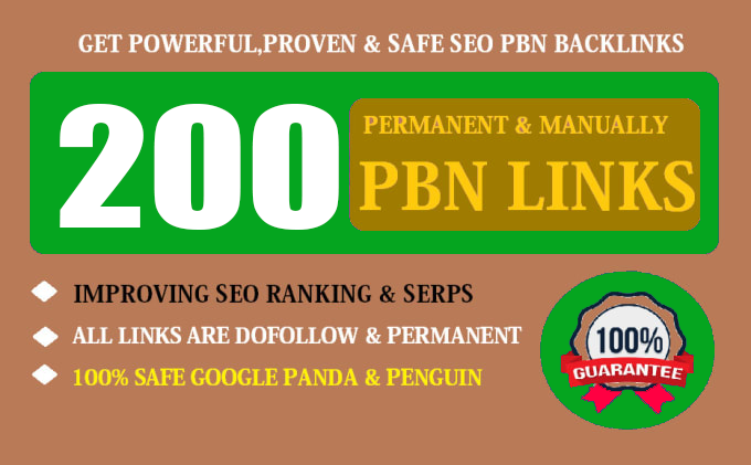 200 Permanent High Quality DA 30+ Homepage Dofollow PBN Backlinks