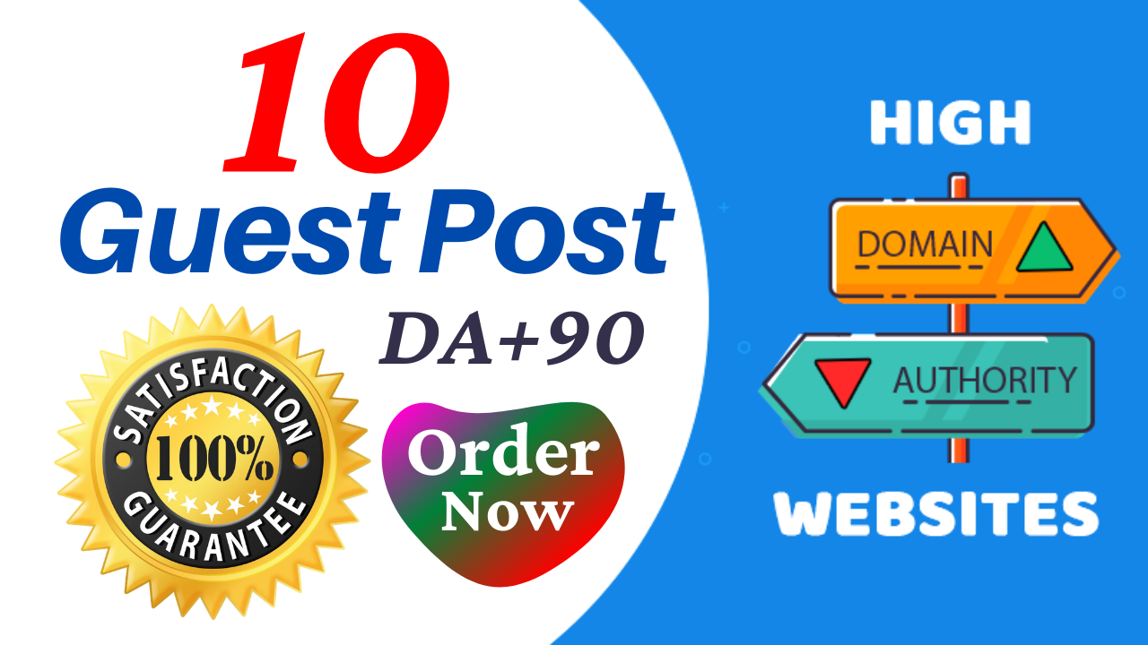 Write And Publish Guest Post On 10 Websites DA 95,  PA 80 With Google Indexing Free
