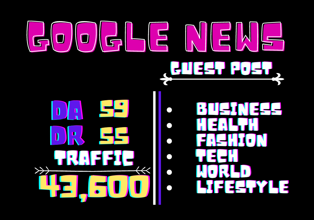 Get Guest Post On My DA 60 Google News Approved Site All Niches