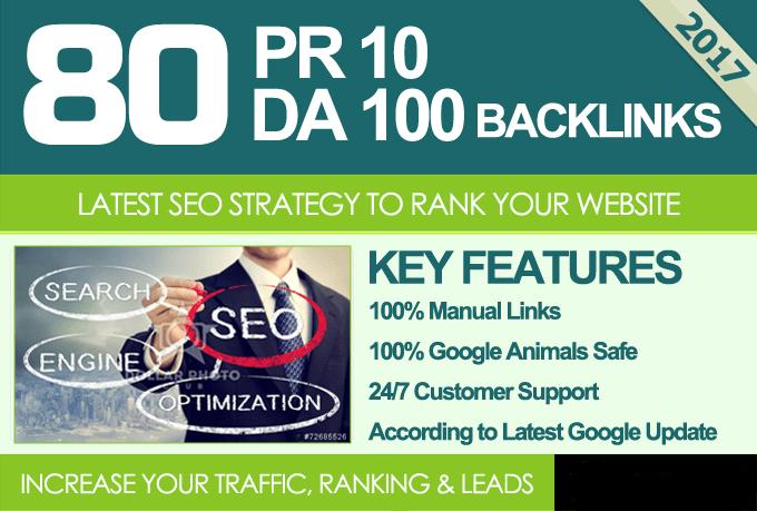 Manually Create80 unique pr10 SEO backlinks on da100 sites Plus Edu Links