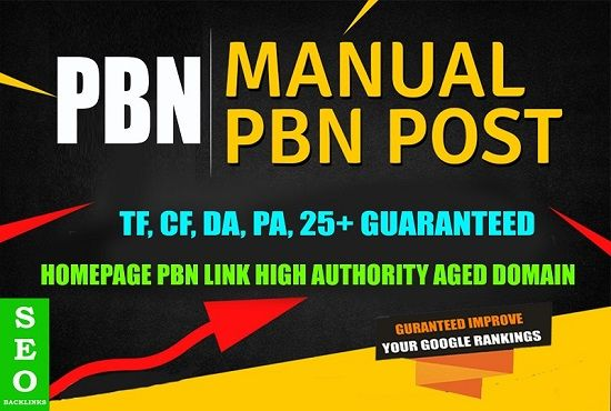 Create 1 HIGH DA 25+ Plus Homepage PBN Backlinks
