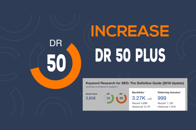 Increase Domain Rating DR Ahrefs to 50 plus of your website