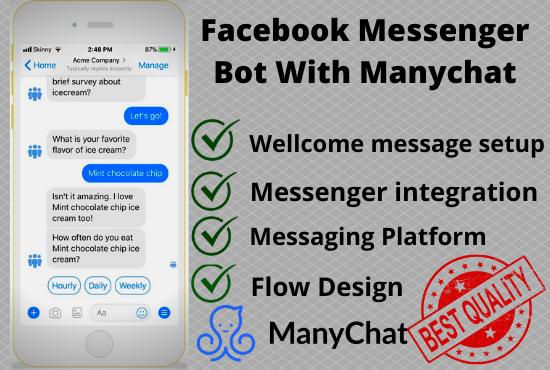 I will create a manychat for your Facebook page