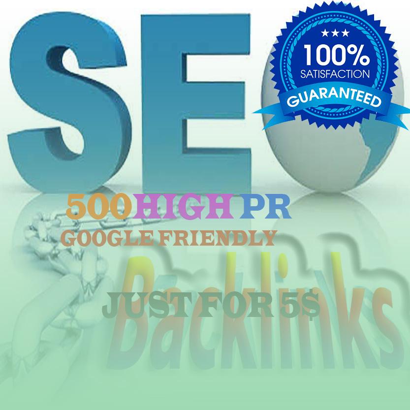 I will create 500 DO-follow high PR4-PR7 Backlinks for 5