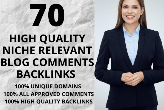 i will create 70 unique domains niche relevant blog comments backlinks