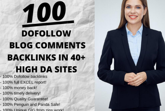 I will create 100 dofollow blog comments seo backlinks in high DA PA sites