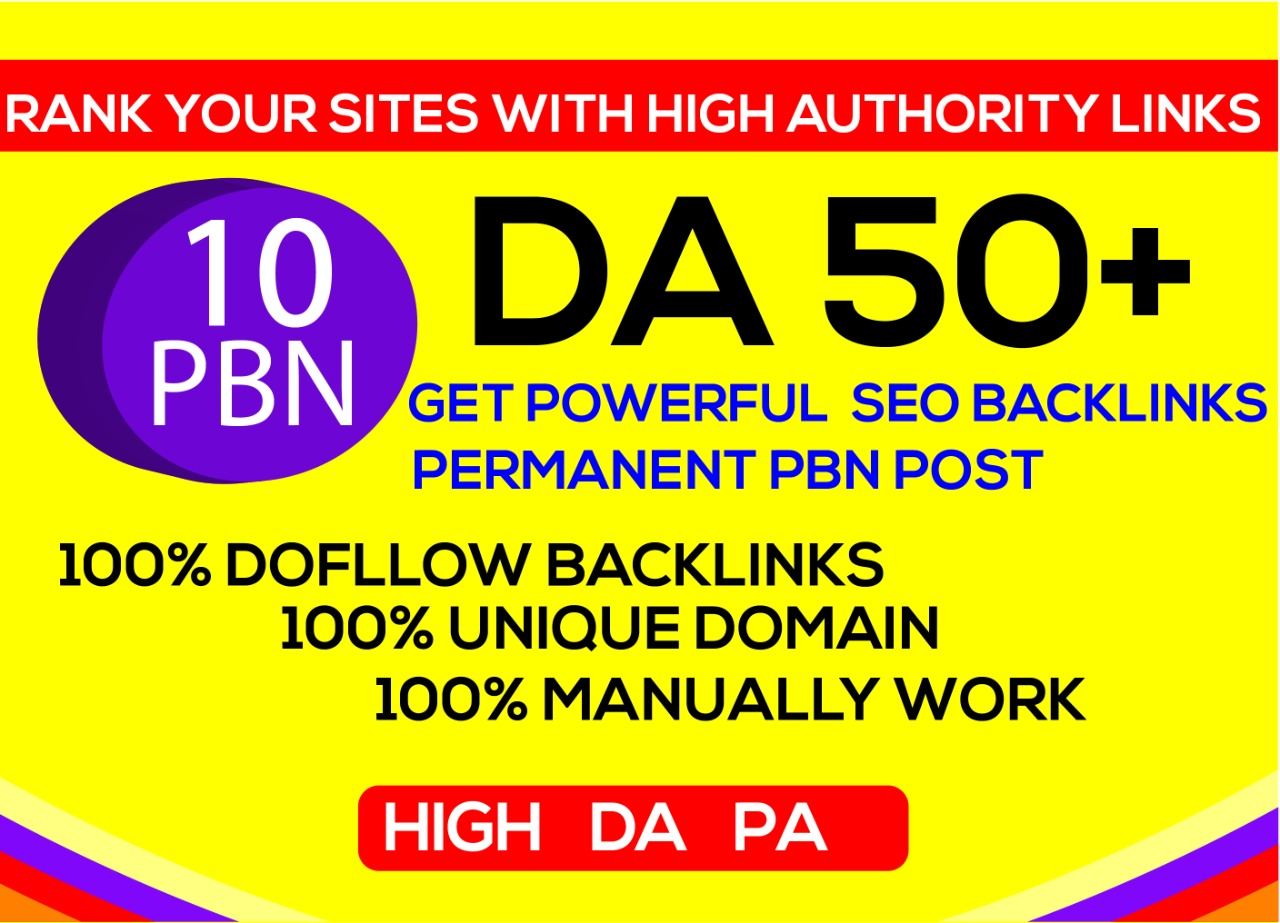 I'll Offer 10 high DA PA TF Homepage PBN Backlinks.