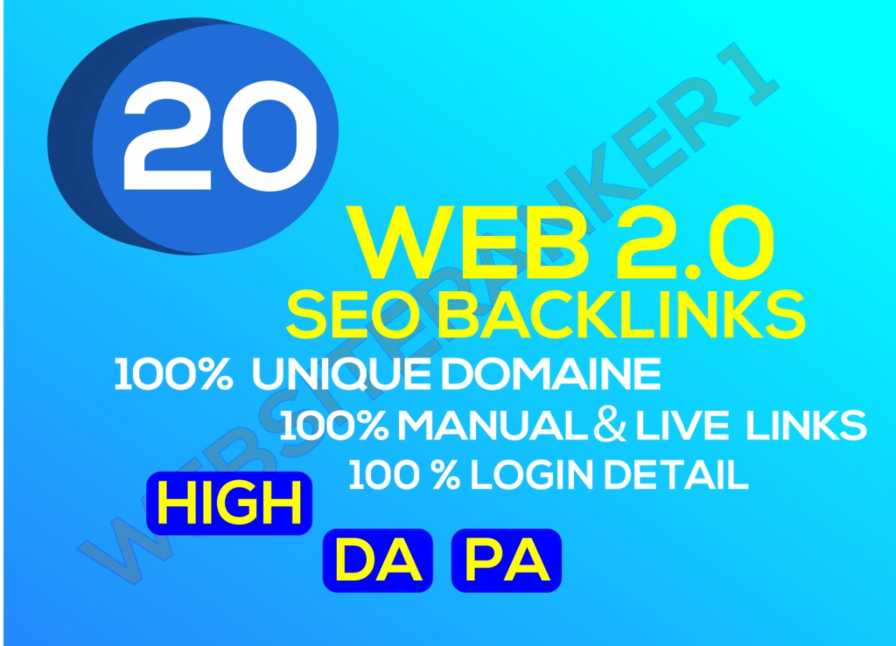 I will build 20 web 2.o Backlinks Rank your Website on top in Google