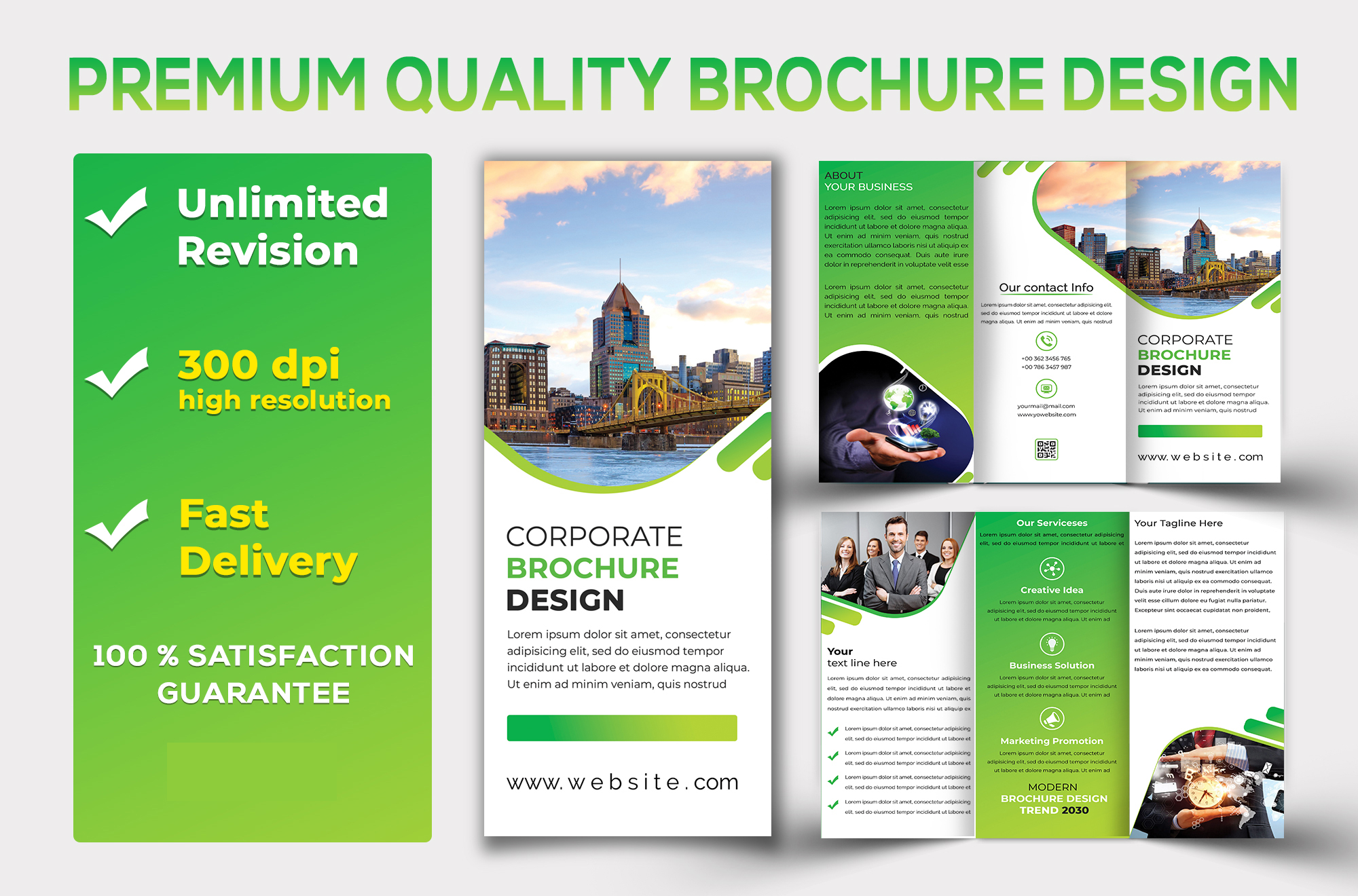 I will do premium quality brochure,  flyer and poster design