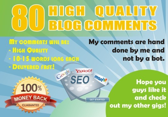 I will do 80 blogcomment with high backlinks DA 30 plus
