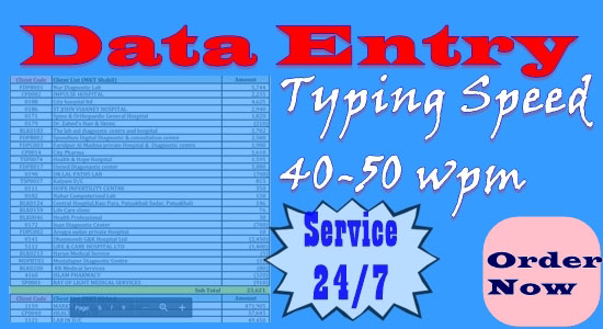 I usually work on any data Including data entry,  data collection,  excel,  MS Word