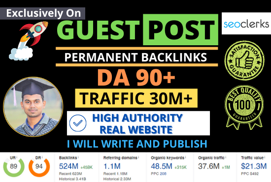 I will write and publish three guest post, High DA Guest Post Backlinks on Real Authority Websites