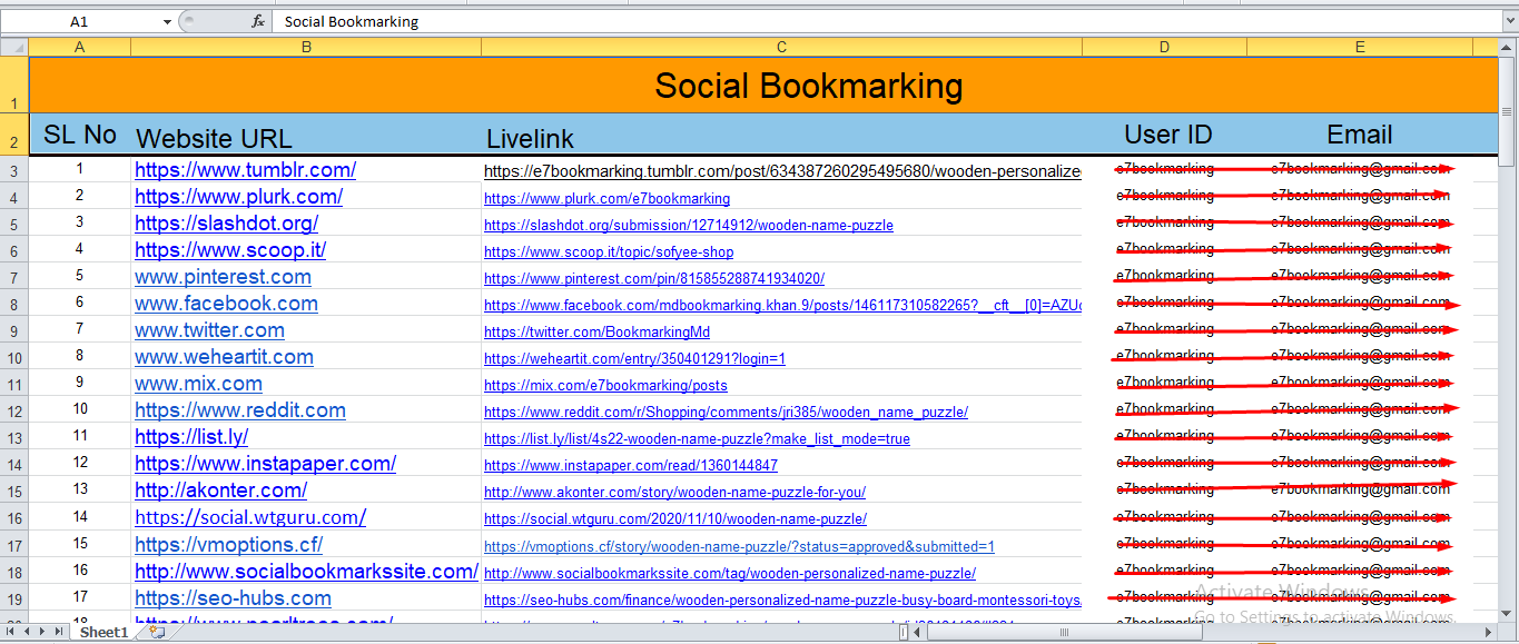 Top 50 Social bookmarking live link manually for boost website ranking