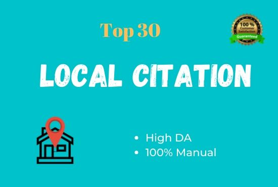 I will create 30 high DA local citations/Local listing for your Business