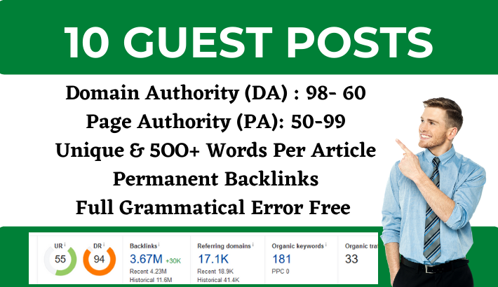 Write and Publish 10 High Quality Guest Posts on DA 60+ sites- medium, peznu, linkedin, livejournal