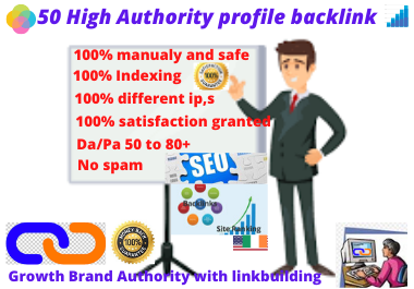 I will provide 50 high authority profile backlink