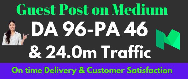 I will do high quality guest post on medium da-94