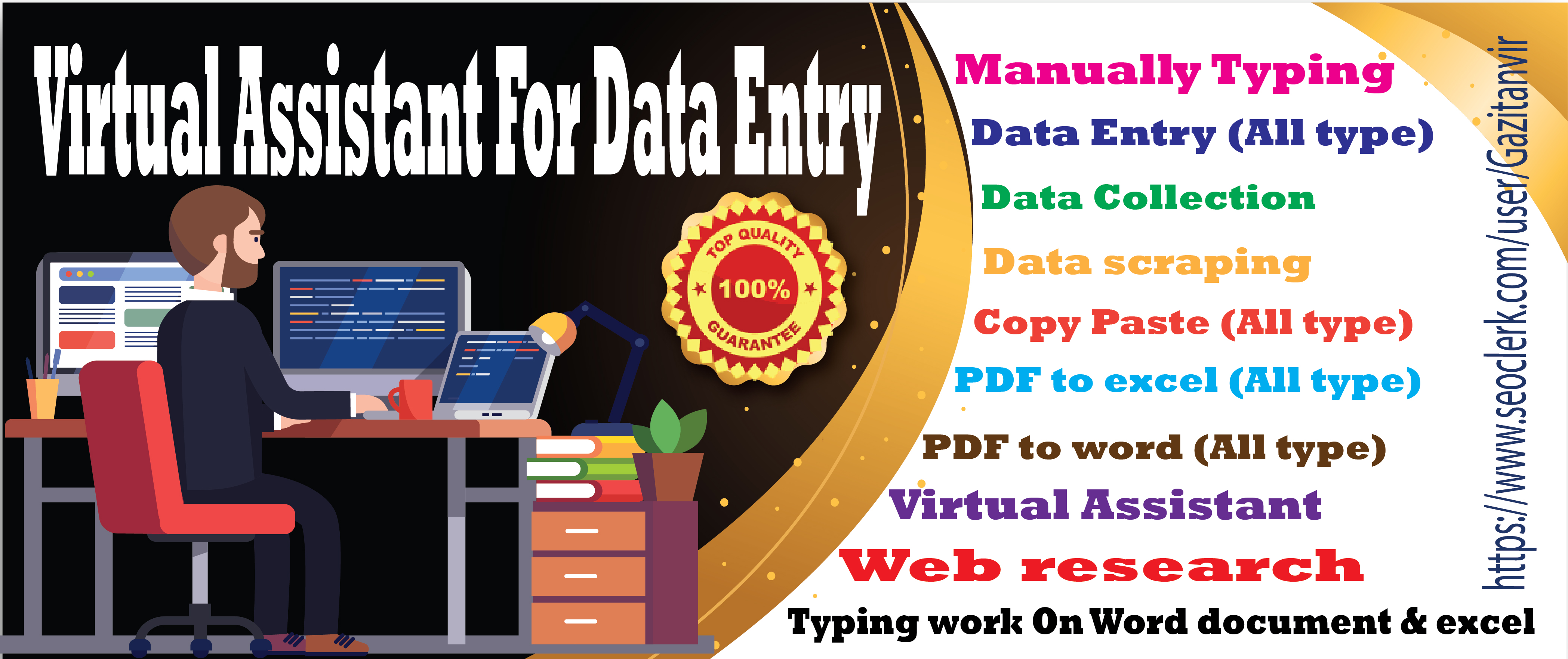 I Will Provide You Virtual Assistant For Data Entry and Internet Research