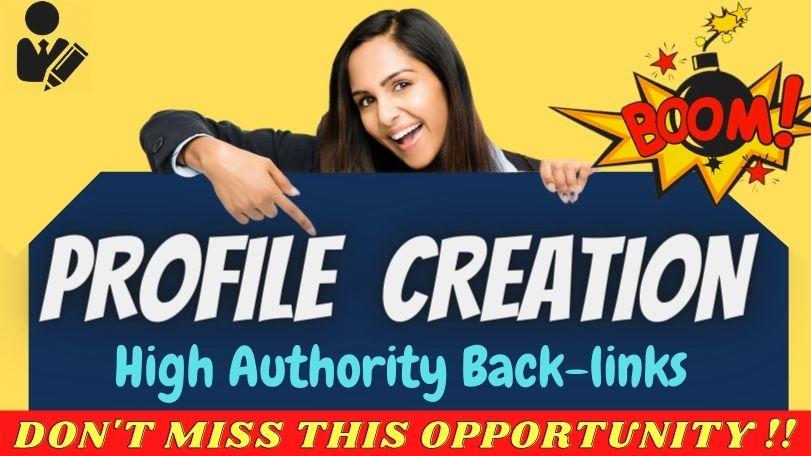 Build 100+ High Quality Social Profile Creation backlinks SEO linkbuilding